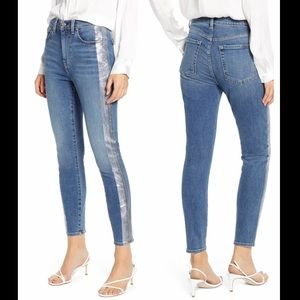 7 FOR ALL MANKIND Luxe Vintage High Waist Ankle Skinny Jean Silver Stripe 28